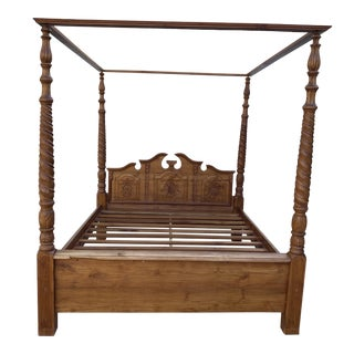 1990s Hand Carved Bali Canopy Queen Bedframe For Sale