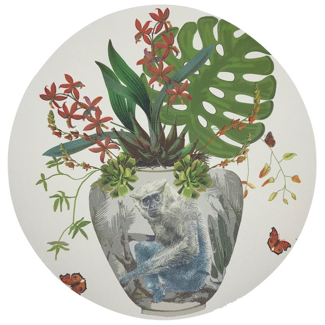 """Nicolette Mayer Monkey Large Jungle White 16"""" Round Pebble Placemats, Set of 4 For Sale"""