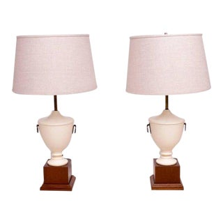 Antique Neoclassical Table Lamps, Solid Mahogany - a Pair For Sale