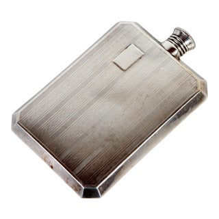 Vintage 1920's Art Deco Silver Plated Travel Flask For Sale