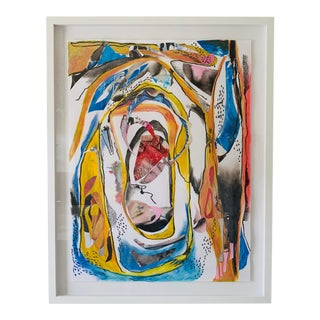 Original Yellow Contemporary Abstract Collage Painting For Sale