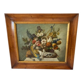 Still Life of Flower and Doves in Amazing Oak Frame For Sale