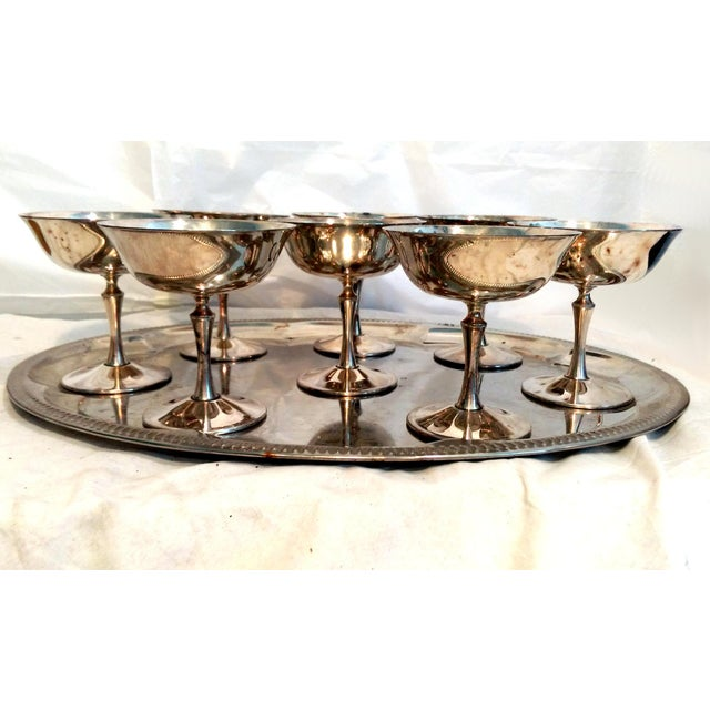 Set of 8 vintage E.L. de Uberti Crown silver-plated champagne coupes/ sherbert cups, made in Italy circa 1960. Classic...