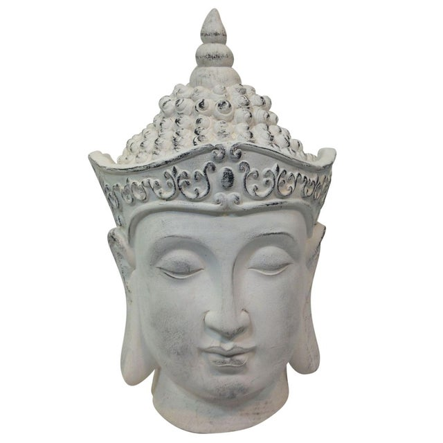 Large Plaster Buddha Head Statue For Sale