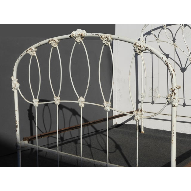 Antique French Country Full Iron Bed Frame Farmhouse Chic Headboard - Image 6 of 11