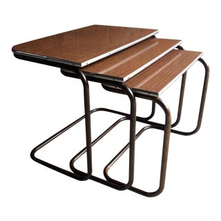 Counter Lever Tables Tubular Nesting Tables - Set of 3 For Sale