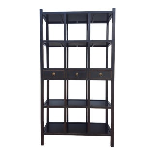 Vintage Hollywood Regency Black and Gold Painted Etagere