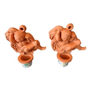 Italian Ceramic Holy Water Font or candle Holders W/ Angel For Sale
