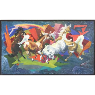 1960s Expressionist Horses & Lightning Painting For Sale