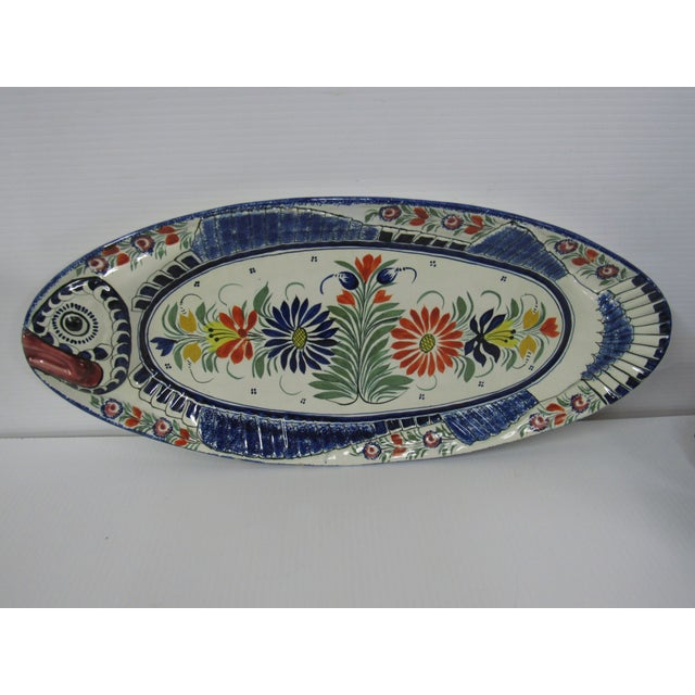 Hand painted French vintage Henriot Quimper complete fish service set . (Service a Poisson). Large oversized oval platter...