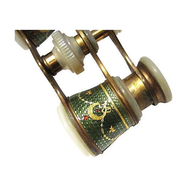 Art Nouveau Late 19th Century Antique European Guilloche Enameled Lorgnette Opera Glasses For Sale - Image 3 of 8