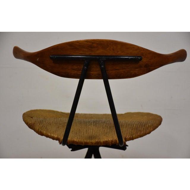 Mid-Century Modern Teak & Iron Barstool - Image 10 of 10