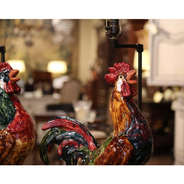 Pair of French Barbotine Ceramic Roosters Converted Into Table Lamps For Sale - Image 11 of 13