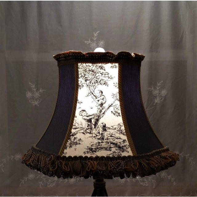 Metal Toile Lampshade Blue Ticking Mustard Stripe Trim For Sale - Image 7 of 10