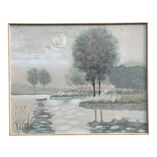 Mid Century Reynolds Lake Scene Landscape Painting For Sale