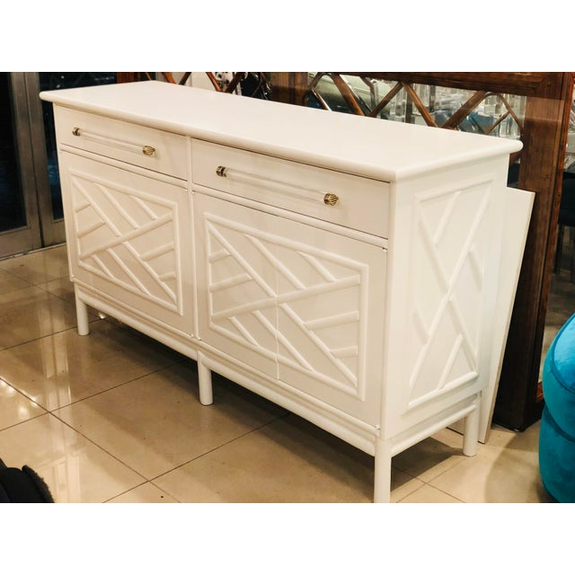 Lacquered White Chinese Chippendale Faux Bamboo Lucite Brass Credenza Buffet - Image 13 of 13