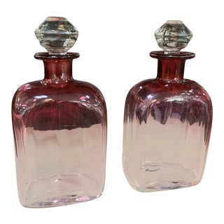 Hand Blown Rubina Glass Decanters - a Pair For Sale