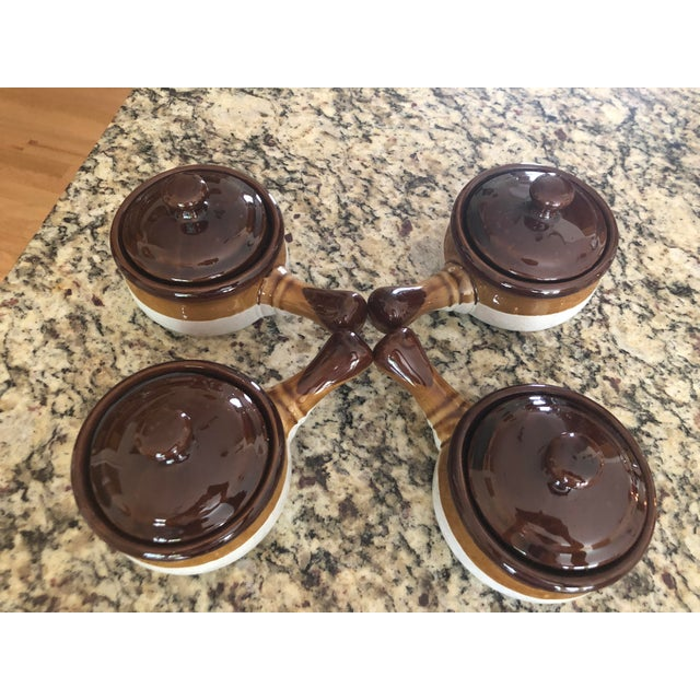 Stoneware French Onion Soup Bowls With Handles & Matching Lids - Set of 4 For Sale - Image 13 of 13