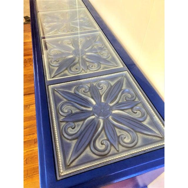 1960s Hollywood Regency Bassett Solid Wood Floral Panels Under Glass Dresser For Sale - Image 9 of 10