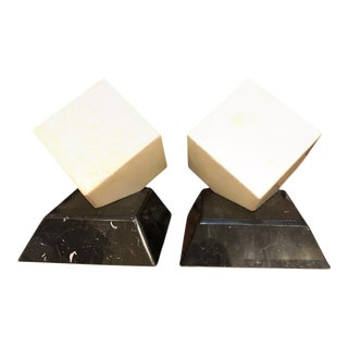 Late 20th Century Alabaster Cube Lamps - A Pair For Sale