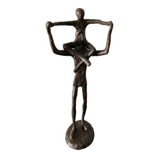 1950s Brutalist Bronze Sculpture Parent With Child For Sale