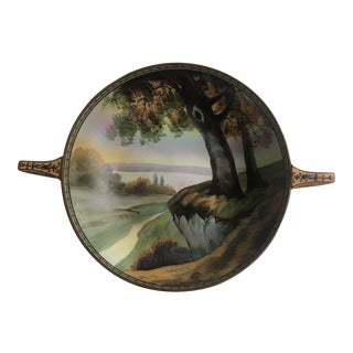 Nippon Ceramic Bowl With Handles Tree Scene For Sale