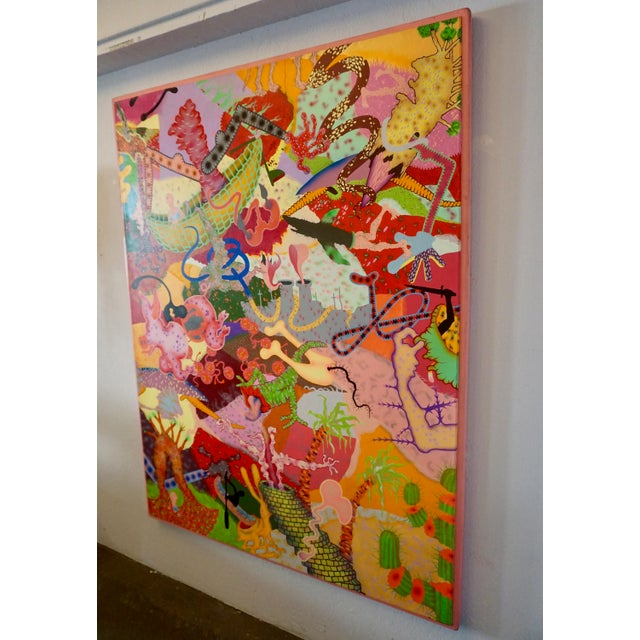 "Whimsical and colorful,large in scale measuring 37.5"" W x 68"" H. Signed and dated 'Michael M. Butler"" 1972."