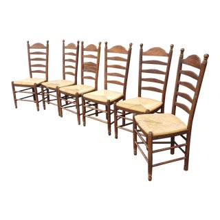 Set 6 Maple Woven Rush Seated Ladder Back Country Dining Room Chairs C.1990s For Sale