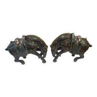 Vintage Cloisonné Horse Figurines - a Pair For Sale