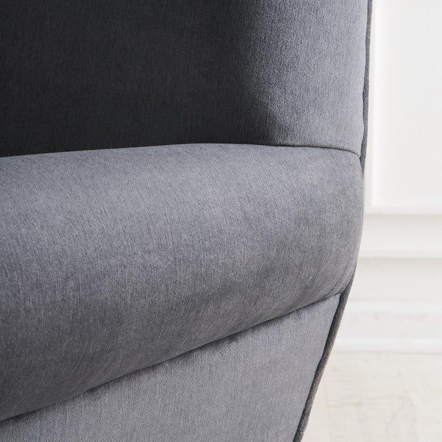 Gigi Radice Pair of Gigi Radice Lounge Chairs in Charcoal Gray Mohair For Sale - Image 4 of 5