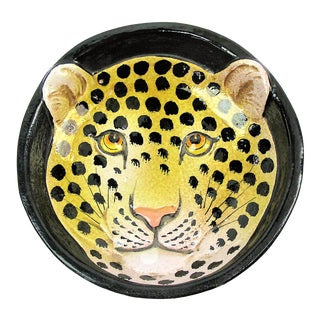 Vintage Leopard Italian Majolica Bowl For Sale