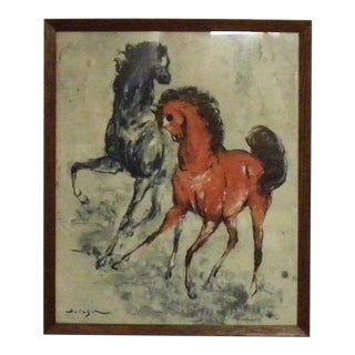 Vintage Mid Century Horse Wall Art Print by Holeset, Framed For Sale