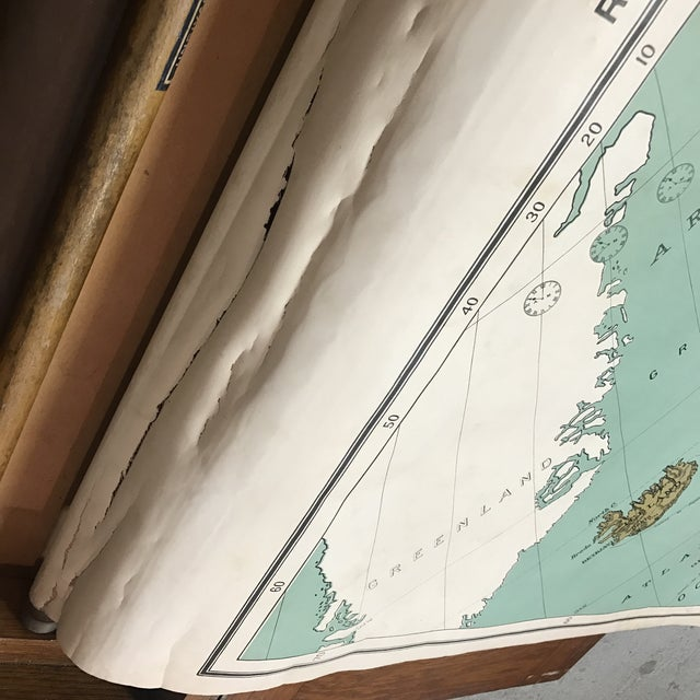 Antique Nystrom Pull Down Maps in Case - Set of 4 For Sale - Image 9 of 13