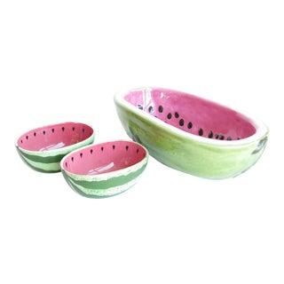 Vintage Ceramic Watermelon Shaped Serving Bowl Set - 3 Pieces For Sale