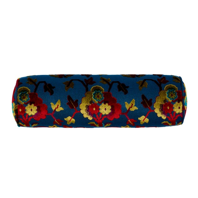 """This 7"""" x 21"""" bolster pillow features Jennie Velvet in Midnight & Magenta. With a figurative and irregular floral pattern..."""