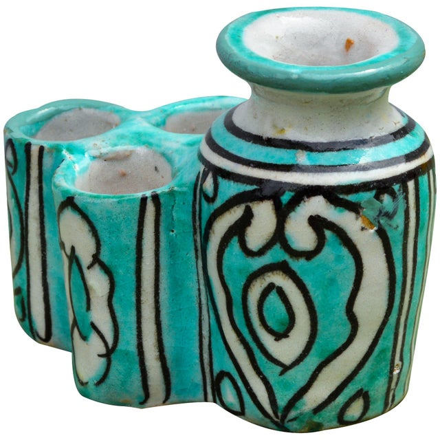 Teal Moroccan Ceramic Inkwell & Candle Holder For Sale - Image 8 of 9