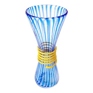 Mid Century Murano Glass Blue Stripes & Yellow Cane Serpent Vase For Sale