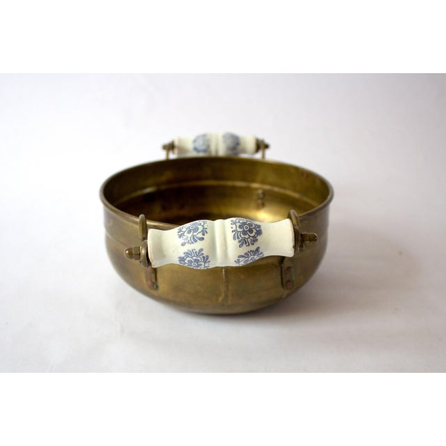 Boho Chic Vintage Mid Century Brass Bowl & Ceramic Handles For Sale - Image 3 of 7
