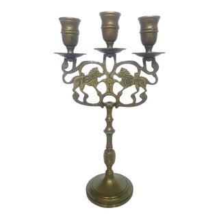 Brass Lion Candelabra