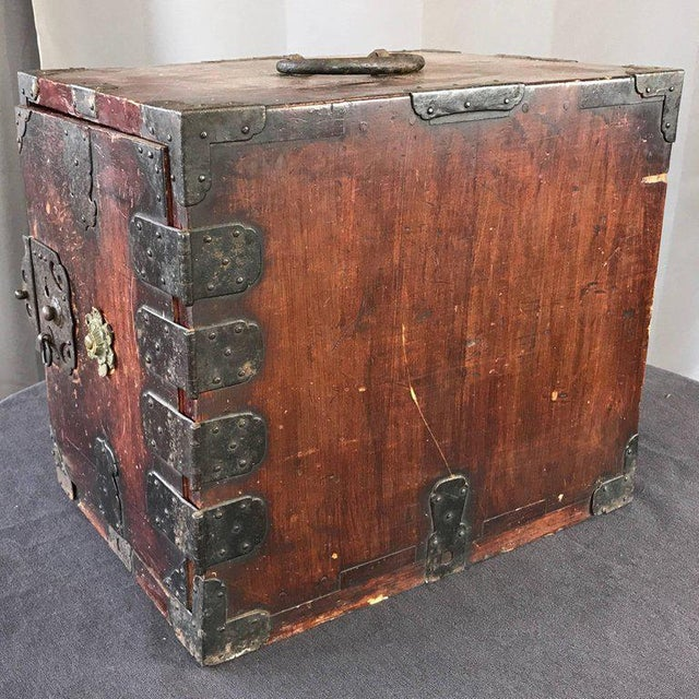 Antique Compact Chinese Seaman's Chest With Locks and Key For Sale - Image 4 of 13