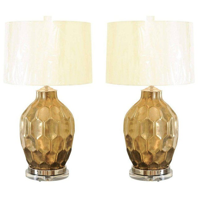 Exceptional Restored Pair of Vintage Large-Scale Faceted Ceramic Lamps For Sale - Image 10 of 10