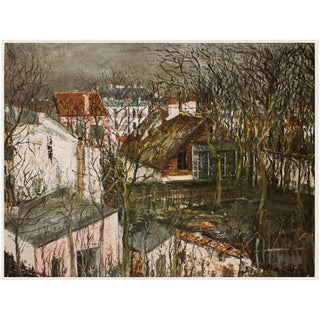 """1950s Maurice Utrillo """"The Berlioz House and the Hunting Lodge of Henri Fifth"""" For Sale"""