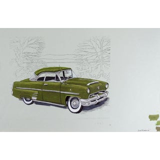Watercolor of Vintage Car For Sale