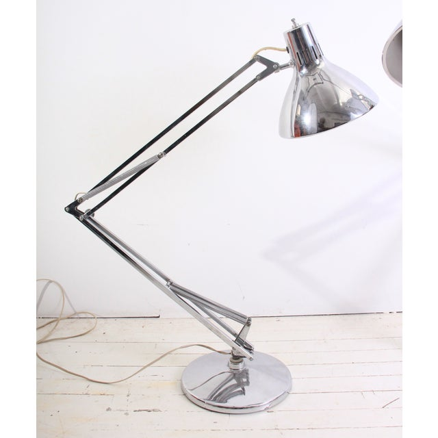Large Vintage Industrial Chrome Task Lamps - Pair - Image 4 of 6