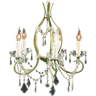 New Rococo 5-Arm Chandelier Glass For Sale