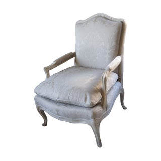 Silver Louis XV Bergere Chair For Sale