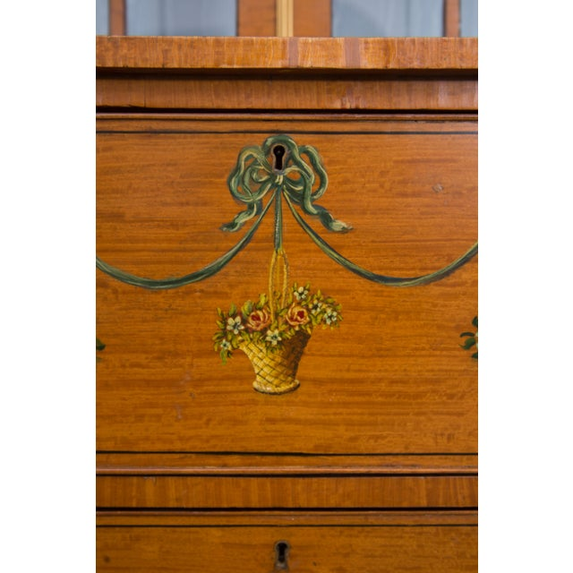 Neoclassical English Adams Style Painted Satinwood Secretary For Sale - Image 3 of 10
