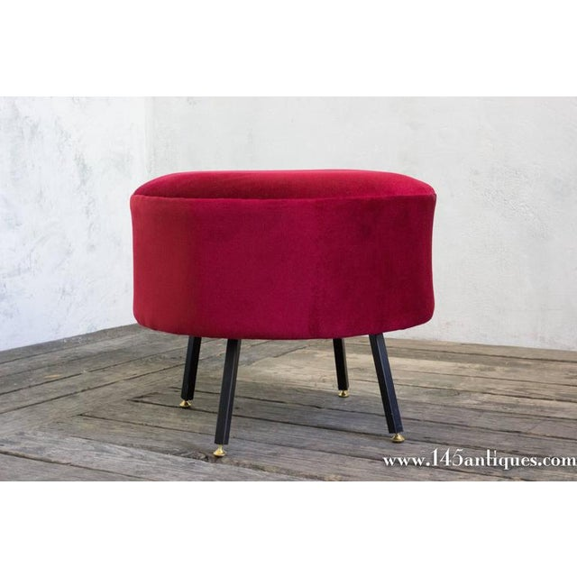 Italian Ottoman in Red Chenille - Image 4 of 6
