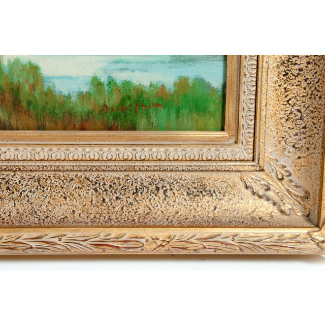 Large giltwood frame oil on canvas green meadow painting. The painting is in great condition. The frame is about 52 inches...