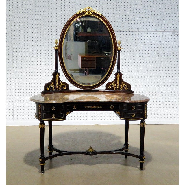 Regency Style Marble Top Vanity With Mirror For Sale - Image 11 of 11